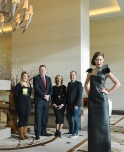 Photographed at the announcement were Katie Fitzgerald, Sean Taaffe Group; David Cronin, General Manager, Europe Hotel & Resort; Orla Diffily, Upfront PR and Paul Ruane Midpoint Creative with top model Blathnaid O Callaghan wearing a gown by awarding winning Kerry designer Clodagh Irwin Owens.  Closing date for entry is 31st January 2014.